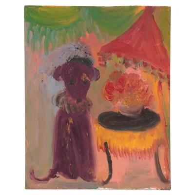 Laura Allgood Acrylic Painting of Dog With Table, 21st Century