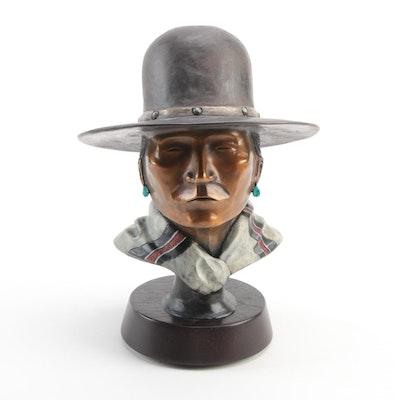 Alvin John Patinated Bronze Bust of Native American Man, 2007