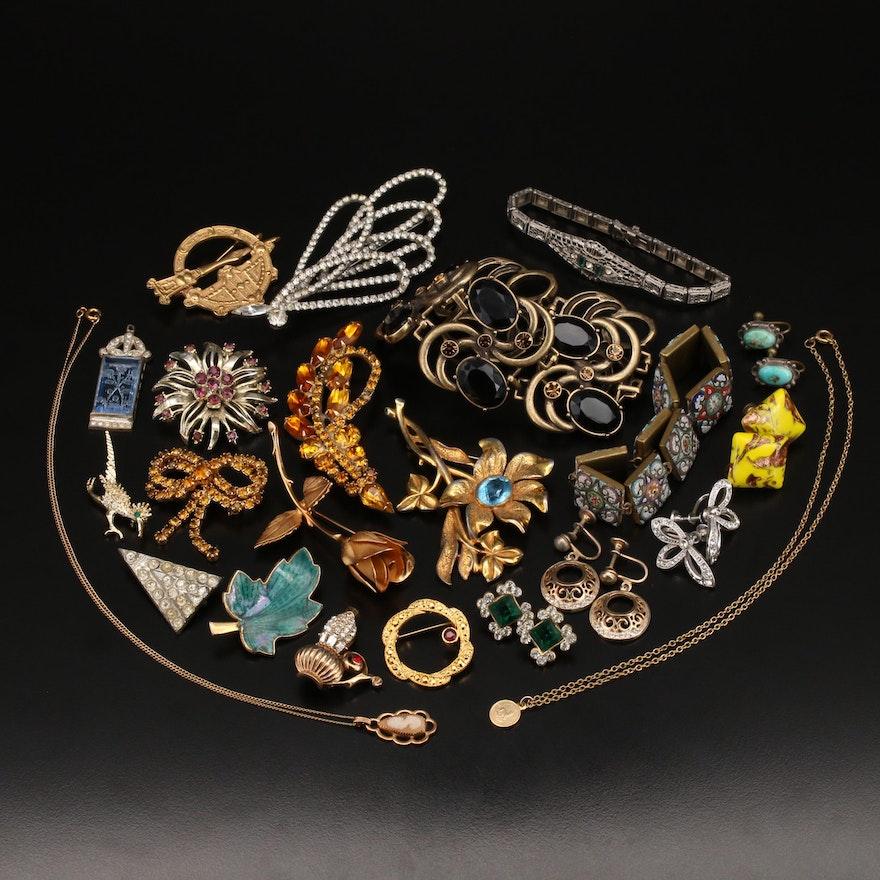 Jewelry Featuring Art Deco J.H. Peckham Bracelet and Micromosaic Panel Bracelet