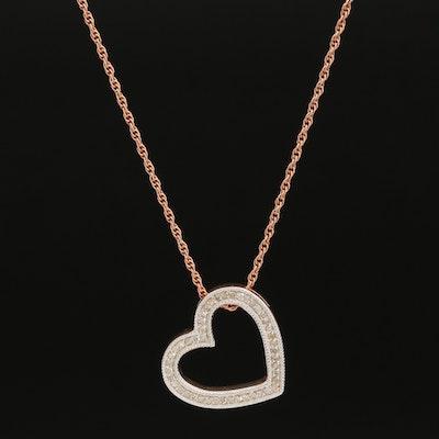 Sterling Diamond Heart Pendant Necklace