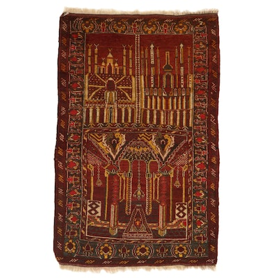 3'2 x 5' Hand-Knotted Turkish Village Pictorial Rug, 1930s
