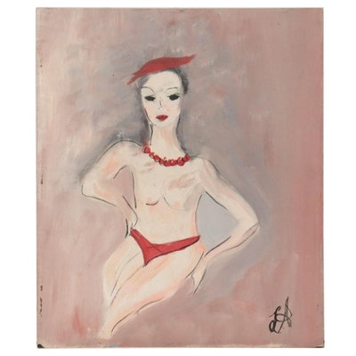 Laura Allgood Oil Painting of Stylized Figure, Late 20th Century