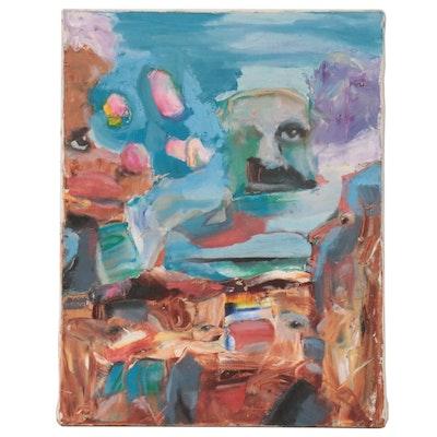 Jon Scharlock Surrealist Style Oil Painting, Late 20th Century