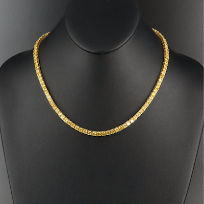 Sterling Cubic Zirconia Riviere Necklace
