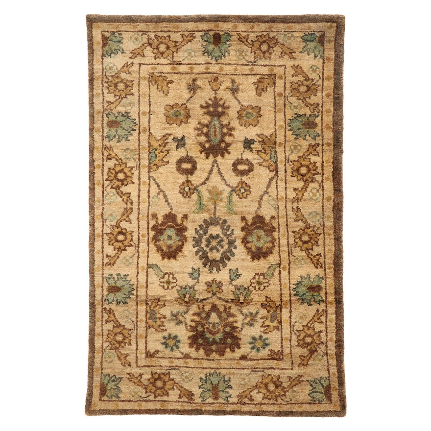 5' x 7'11 Hand-Knotted Indo-Turkish Oushak Rug, 2010s