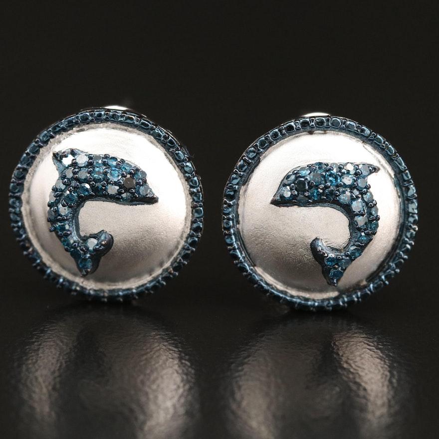 Sterling Diamond Dolphin Earrings