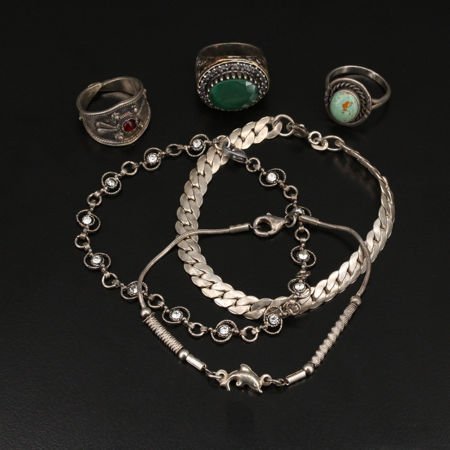 Sterling and 900 Silver Jewelry Selection Including Tanzanite and Gemstone