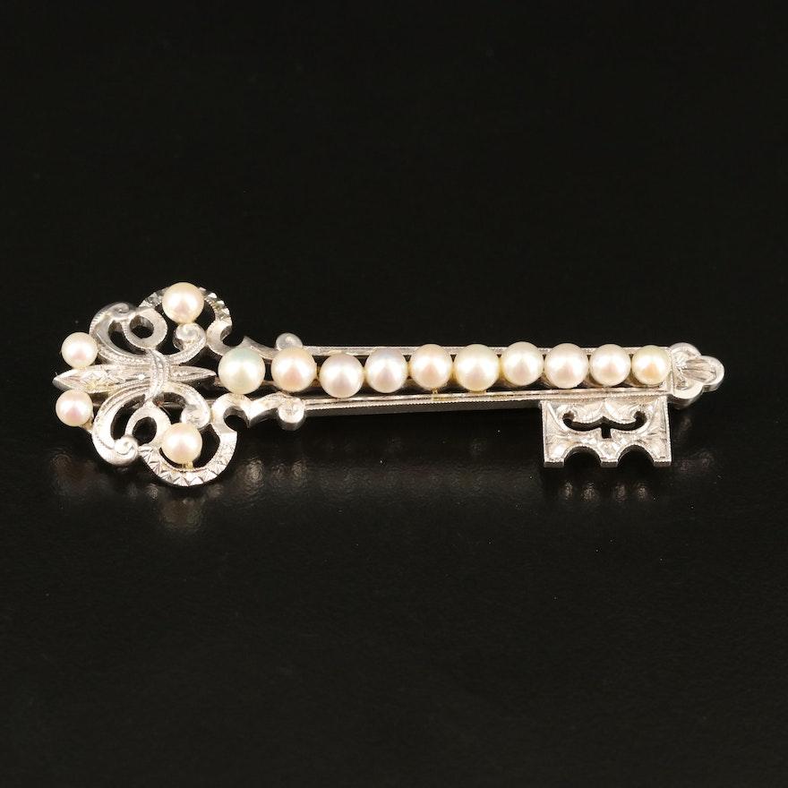 Vintage Mikimoto Sterling Pearl Key Brooch