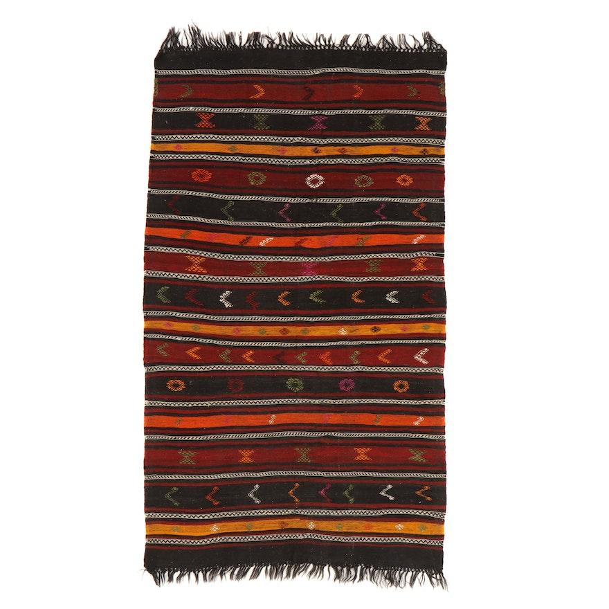5'5 x 10'4 Handwoven Persian Kurdish Kilim Rug, 1950s