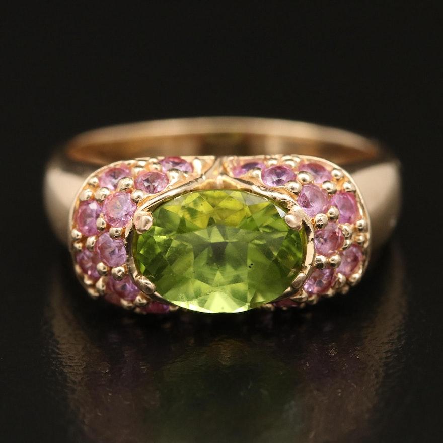 14K Peridot and Sapphire Ring