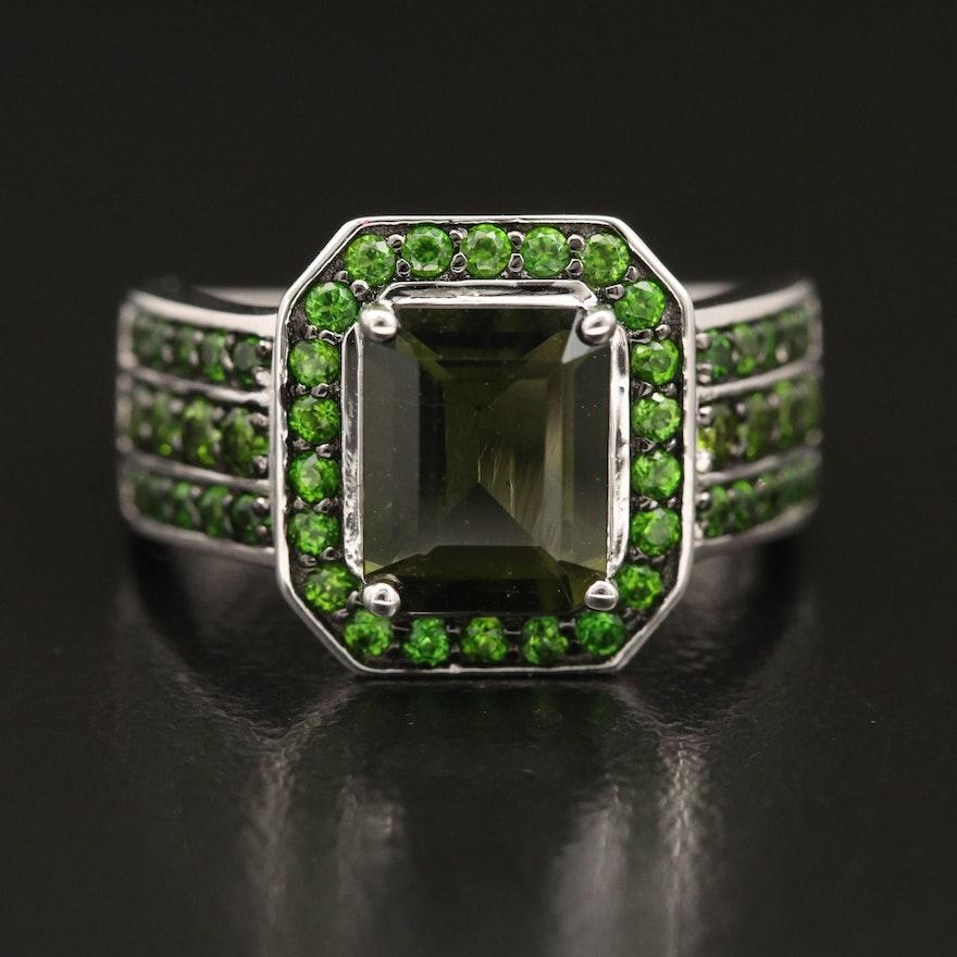 Sterling Moldavite and Diopside Ring