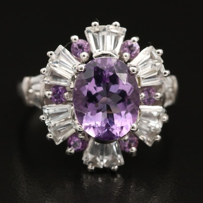 Sterling Amethyst and Topaz Ring