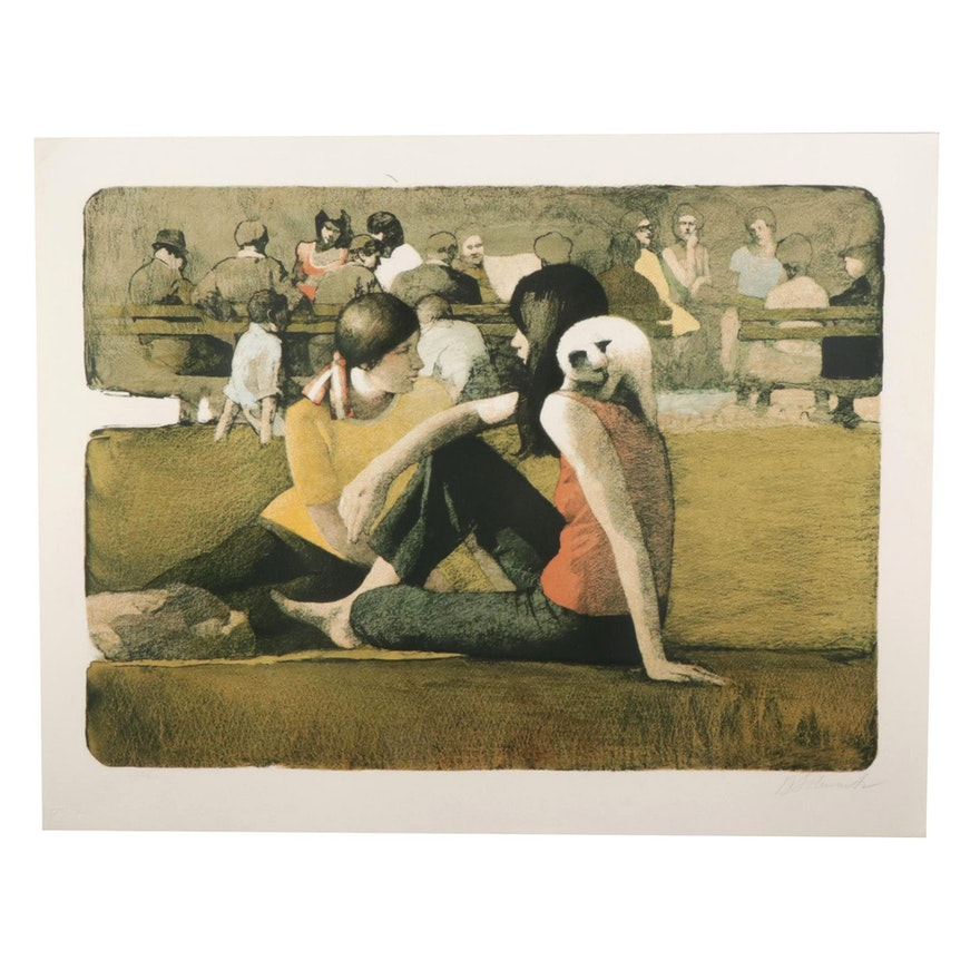 """Daniel Schwartz Color Lithograph """"Two Girls in Park With Cat,"""" Circa 1977"""