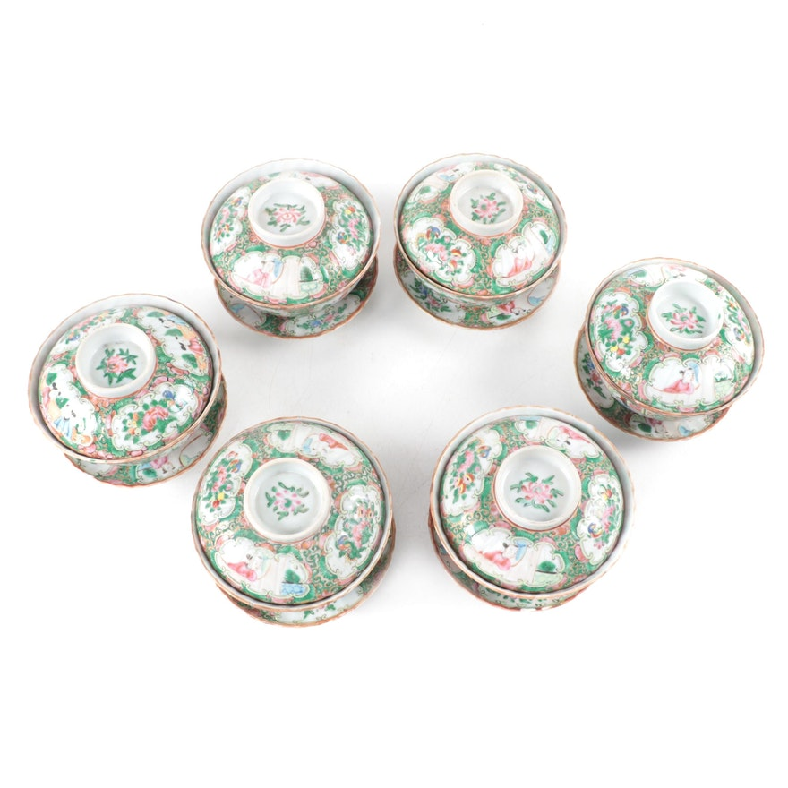 Chinese Porcelain Rose Medallion Covered Bowls on Stands, Antique