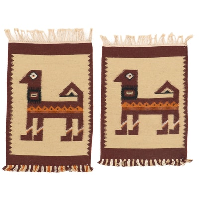 1'8 x 2'9 Handwoven Russian Kilim Pictorial Rugs, 1970s