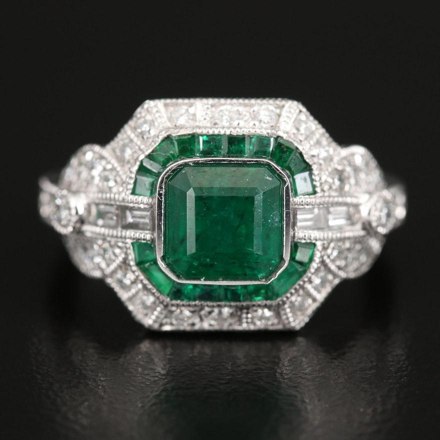 Platinum Emerald and Diamond Ring with Milgrain Detail