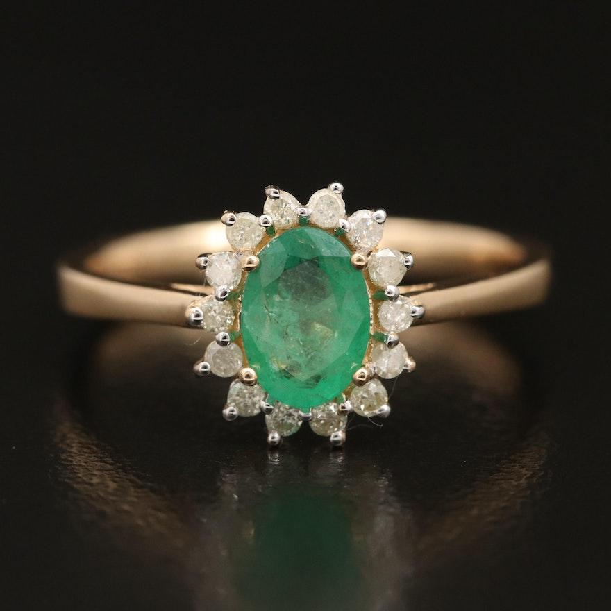 14K Emerald Ring with Diamond Halo