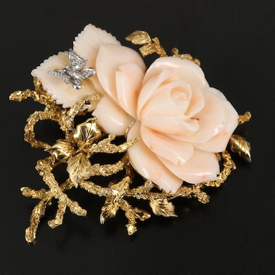 1950s 14K Angel Skin Coral Rose Brooch with Diamond Accented Butterfly Detail