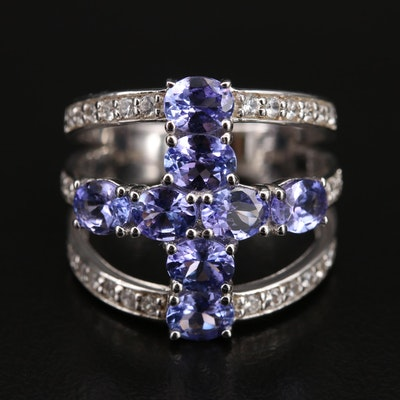 Sterling Tanzanite and Zircon Cross Ring
