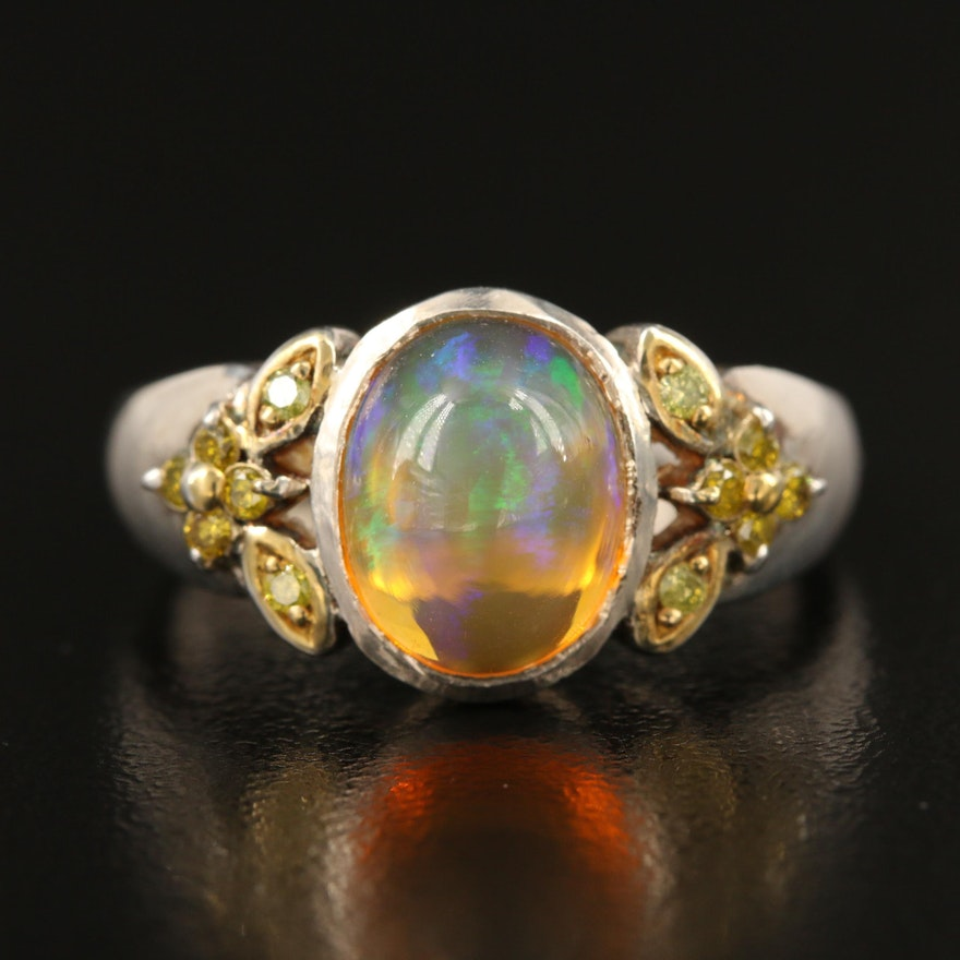 Sterling Opal and Yellow Diamond Ring