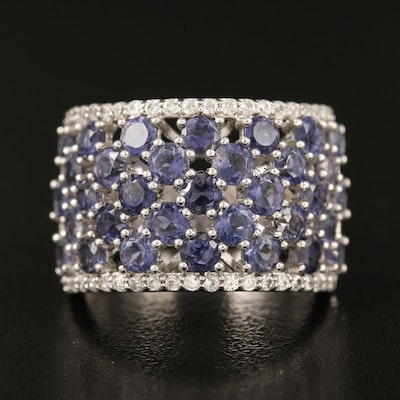 Sterling Iolite and Zircon Tapered Band