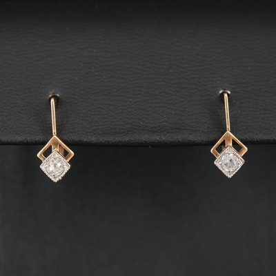 1960s Russian 14K Cubic Zirconia Drop Earrings