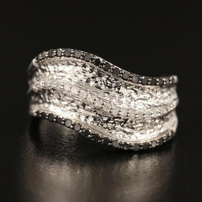 Sterling Silver Triple Row Diamond Wave Ring
