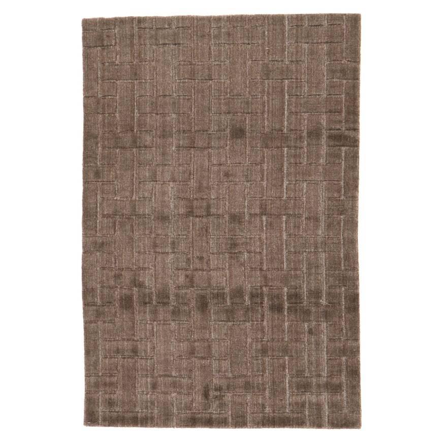 4' x 6' Hand-Knotted Indian Modern Style Rug, 2010s