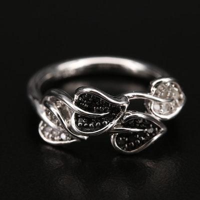 Sterling Diamond Foliate Ring