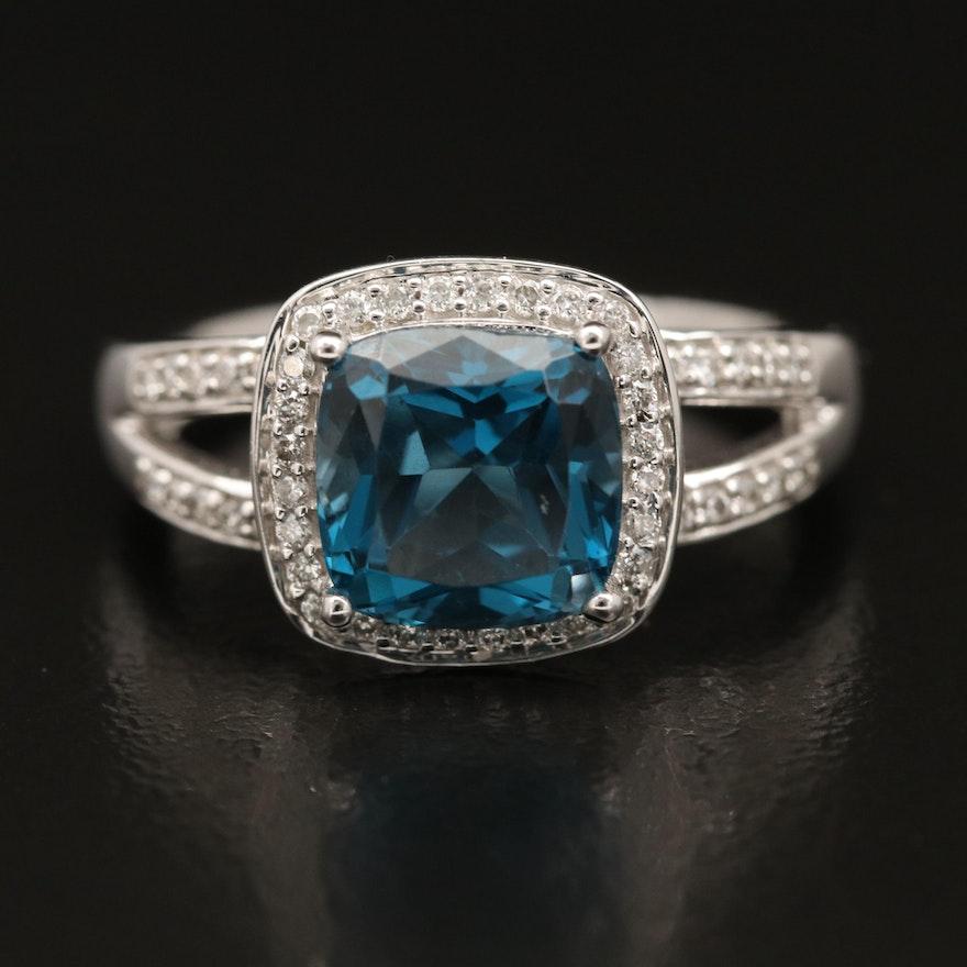 14K London Blue Topaz and Diamond Ring with Split Shank