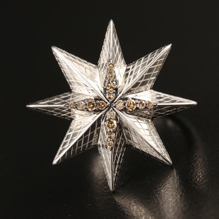 Sterling Silver Diamond Octagonal Star Ring with Lattice Texture