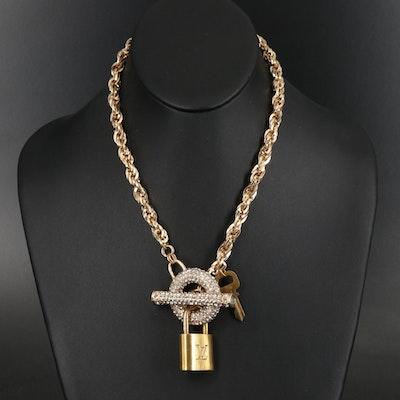 Louis Vuitton Padlock on Rhinestone Singapore Chain Necklace