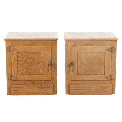 Pair of Oak Ice Box Style Nightstands, Late 20th Century