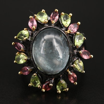 Sterling Lepidocrocite, Peridot and Gemstone Ring