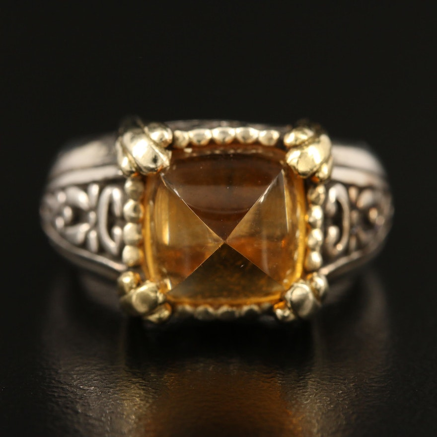 John Hardy 18K and Sterling Citrine Ring