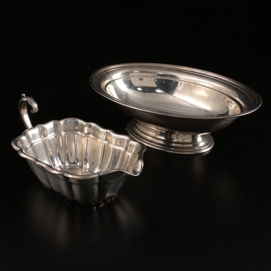 Whiting Mfg. Co. Sterling Silver Bowl with Reed & Barton Sterling Gravy Boat
