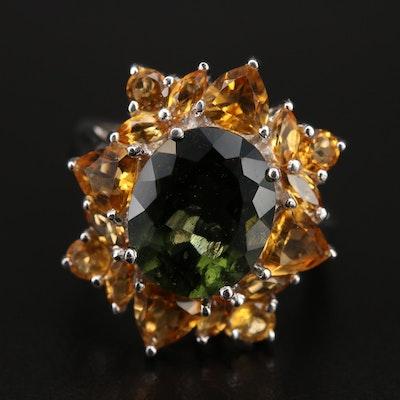Sterling Moldavite and Citrine Ring