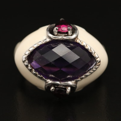 Sterling East West Heart Ring with Amethyst and Rhodolite Garnet