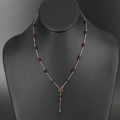 10K Garnet Lavalier Necklace