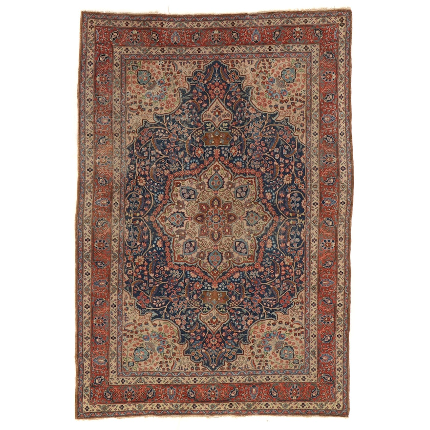 7'4 x 10'8 Hand-Knotted Persian Kerman Floral Medallion Area Rug