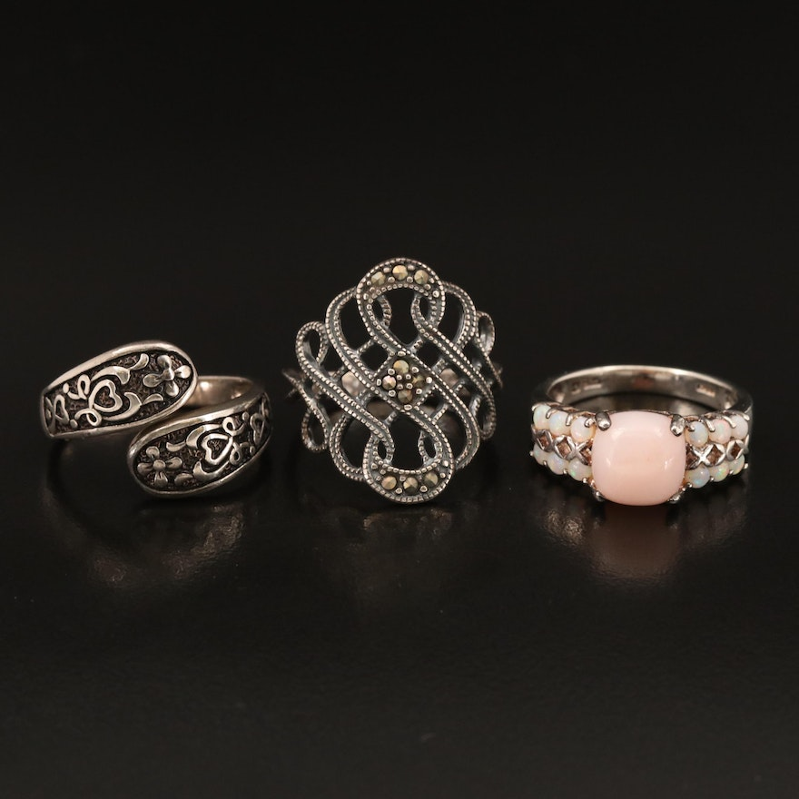 Sterling Rings Including Common Opal, Opal and Marcasite