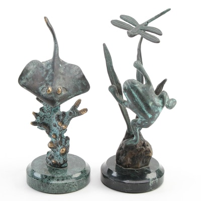 SPI Gallery Brass Sculptures of Manta Ray and Frog, Circa 2000