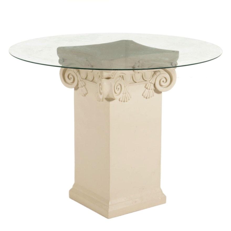 Plastic Columnar Pedestal and Glass Top Bistro Table