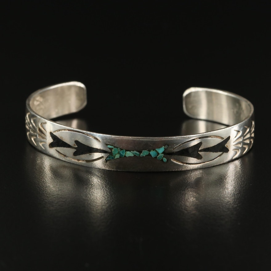 Southwestern Style Sterling Silver Stampwork Cuff with Stone Inlay