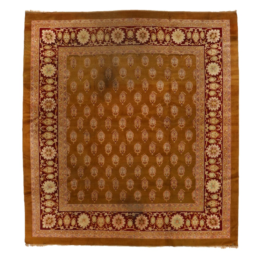 11'7 x 12'9 Hand-Knotted Indian Mir-i-Boteh Room Sized Rug