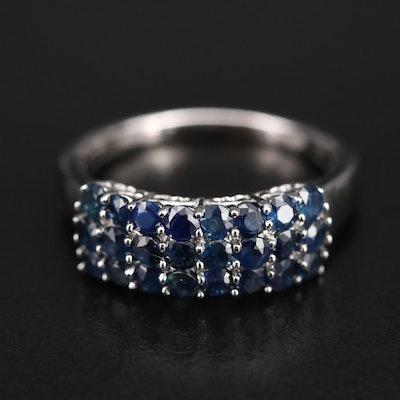 14K Sapphire Multi-Row Ring