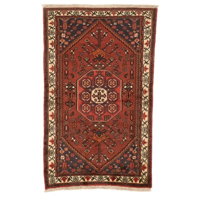4'2 x 6'9 Hand-Knotted Persian Zanjan Rug, 1980s