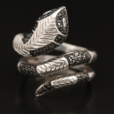 Sterling Silver Diamond Coiled Snake Wrap Ring