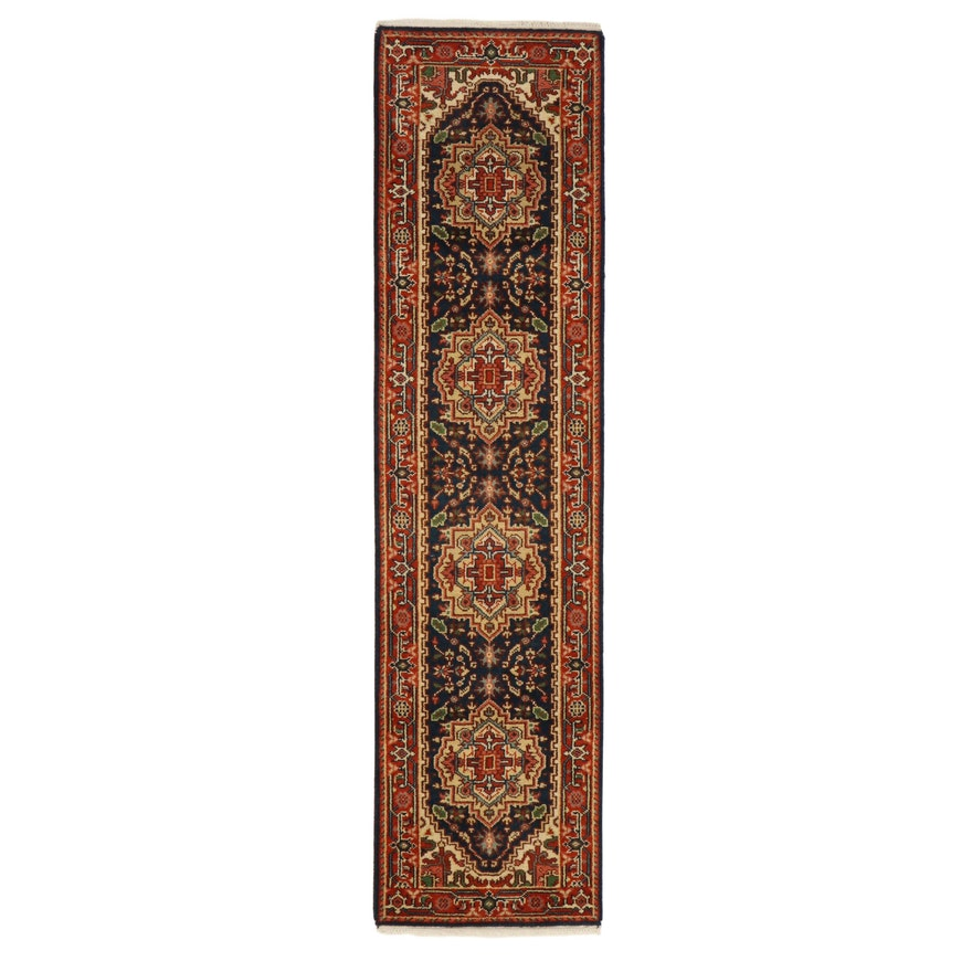 2'8 x 10'6 Hand-Knotted Indo-Persian Heriz Serapi Carpet Runner, 2010s