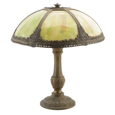 Bent Glass Slag Glass Table Lamp with Spelter Base, Early/Mid 20th C